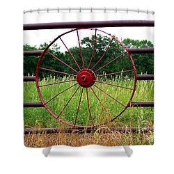 Shower Curtain featuring the photograph Texas Wildflowers Through Wagon Wheel by Kathy  White