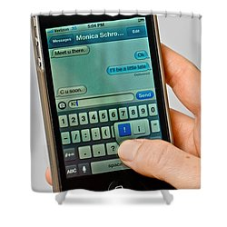 Texting On An Iphone Shower Curtain by Photo Researchers