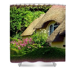 Thatched Cottage With Pink Flowers Shower Curtain by Carla Parris