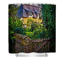 Thatched Roof Country Home Shower Curtain by Chris Lord