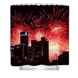Shower Curtain featuring the photograph The 54th Annual Target Fireworks In Detroit Michigan - Version 2 by Gordon Dean II