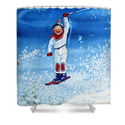 The Aerial Skier 15 Shower Curtain by Hanne Lore Koehler