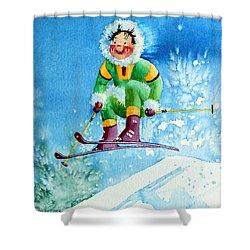 The Aerial Skier - 9 Shower Curtain by Hanne Lore Koehler