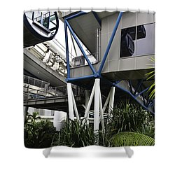 The Area Below The Capsules Of The Singapore Flyer Shower Curtain by Ashish Agarwal