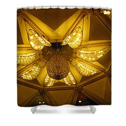 The Beautifully Lit Chandelier On The Ceiling Of The Iskcon Temple In Delhi Shower Curtain by Ashish Agarwal