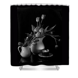 The Beauty Of Tulips In Black And White Shower Curtain