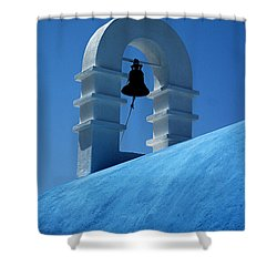 Shower Curtain featuring the photograph The Bell Tower In Mykonos by Vivian Christopher
