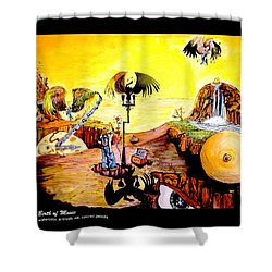 Shower Curtain featuring the painting The Birth Of Music by eVol  i