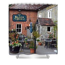 The Black Dog Pub Shower Curtain by Carla Parris