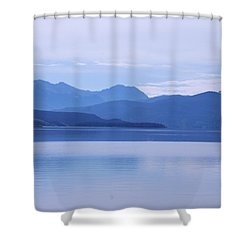 The Blue Shore Shower Curtain