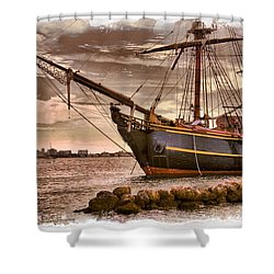 The Bow Of The Hms Bounty Shower Curtain by Debra and Dave Vanderlaan