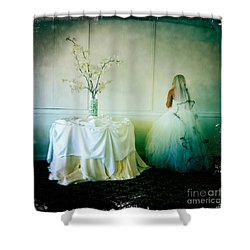 Shower Curtain featuring the photograph The Bride Takes A Moment by Nina Prommer