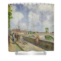 The Bridge At Pontoise Shower Curtain by Camille Pissarro