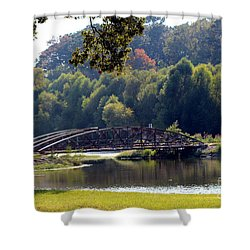 Shower Curtain featuring the photograph The Bridge by Kathy  White