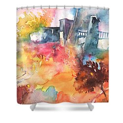 The Bridge On Planet Goodaboom Shower Curtain by Miki De Goodaboom