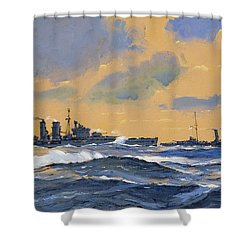 The British Cruisers Hms Exeter And Hms York  Shower Curtain by John S Smith