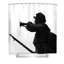 The Bugler Shower Curtain by Cindy Manero