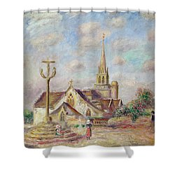 The Calvary At Pont Aven Shower Curtain by Pierre Auguste Renoir