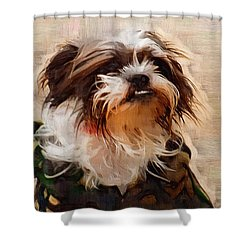 The Camo Makes The Dog Shower Curtain by Kathy Clark