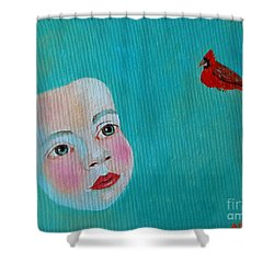 The Cardinal's Song Shower Curtain by Ana Maria Edulescu