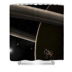The Cassini Spacecraft In Orbit Shower Curtain by Steven Hobbs