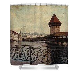 The Chapel Bridge In Lucerne Switzerland Shower Curtain by Susanne Van Hulst