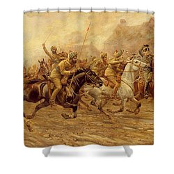 The Charge Of The Bengal Lancers At Neuve Chapelle Shower Curtain by Derville Rowlandson