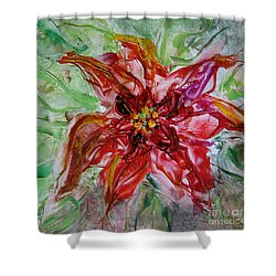 Shower Curtain featuring the painting The Christmas Poinsettia by Dragica  Micki Fortuna
