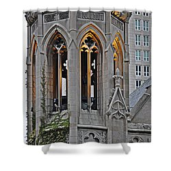 The Church Tower Shower Curtain by Mary Machare