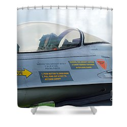 The Cockpit Of An F-16 Fighting Falcon Shower Curtain by Luc De Jaeger