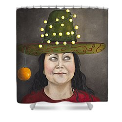 The Competitive Sombrero Couple 1 Shower Curtain by Leah Saulnier The Painting Maniac