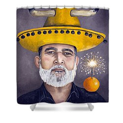 The Competitive Sombrero Couple 2 Shower Curtain by Leah Saulnier The Painting Maniac