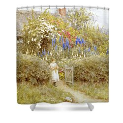 The Cottage Gate Shower Curtain by Helen Allingham