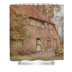The Cottage With Beehives Shower Curtain by Helen Allingham