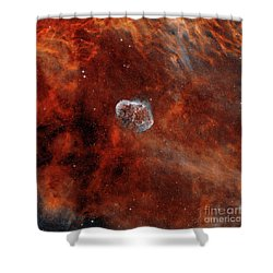 The Crescent Nebula With Soap-bubble Shower Curtain by Rolf Geissinger