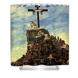 The Cross IIi In The Grotto In Iowa Shower Curtain by Susanne Van Hulst