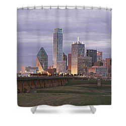 The Dallas Skyline At Dusk Shower Curtain by Richard Nowitz