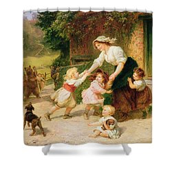The Dancing Bear Shower Curtain by Frederick Morgan