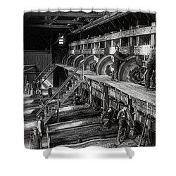 The Deadwood Terra Gold Ore Stamp Mill C. 1888 Shower Curtain by Daniel Hagerman