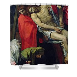 The Descent From The Cross Shower Curtain by Bartolome Carducci