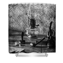 The Desk Shower Curtain by Empty Wall