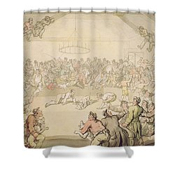 The Dog Fight Shower Curtain by Thomas Rowlandson