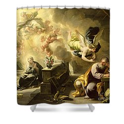 The Dream Of Saint Joseph Shower Curtain by Luca Giordano