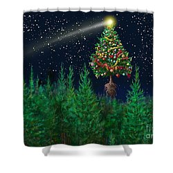 The Egregious Christmas Tree Classic Landscape Shower Curtain by Russell Kightley