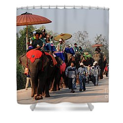 Shower Curtain featuring the photograph The Elephant Parade by Vivian Christopher