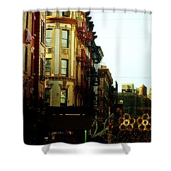 The Empire State Building And Little Italy - New York City Shower Curtain by Vivienne Gucwa