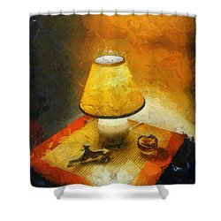 The Evening Lamp Shower Curtain