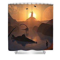 The Fabled City Of Atlantis Set Shower Curtain by Mark Stevenson
