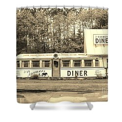 Shower Curtain featuring the photograph The Farmers Diner In Sepia by Sherman Perry