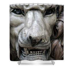 Shower Curtain featuring the photograph The Fierce Lion  by Kathy  White